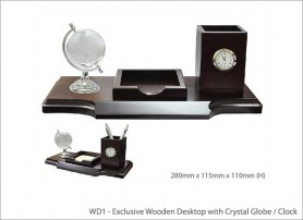 Exclusive Wooden Desktop with Crystal Globe Clock