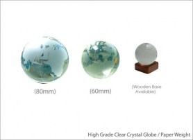 High Grade Clear Crystal Globe Paper Weight