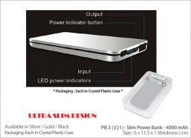 PB3 (V21) Slim Power Bank - 4000 mAh