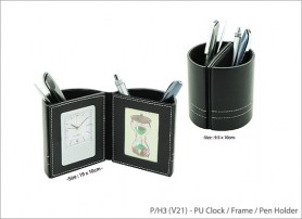 PU Clock Frame Pen Holder