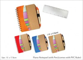 Piano Notepad with Pen comes with PVC Ruler