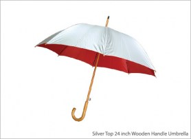 Silver Top 24 inch Wooden Handle Umbrella