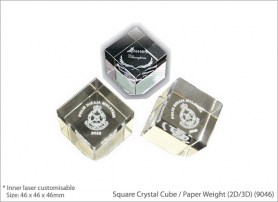 Square Crystal Cube Paper Weight 2D 3D 9046