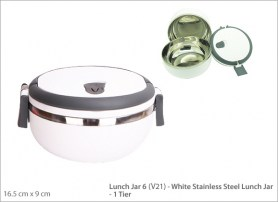 White Stainless Steel Lunch Jar 1 Tier