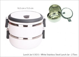 White Stainless Steel Lunch Jar 2 Tiers