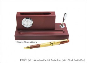 Wooden Card Penholder with Clock with Pen